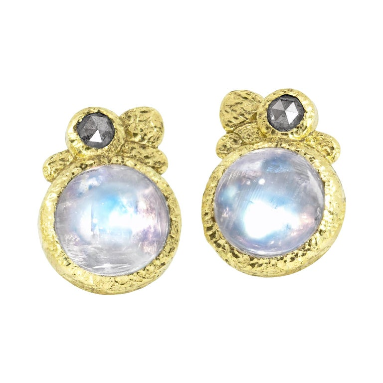Rona Fisher Glowing Moonstone Salt and Pepper Diamond Stud Earrings For Sale