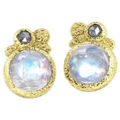 Rona Fisher Glowing Moonstone Salt and Pepper Diamond Stud Earrings