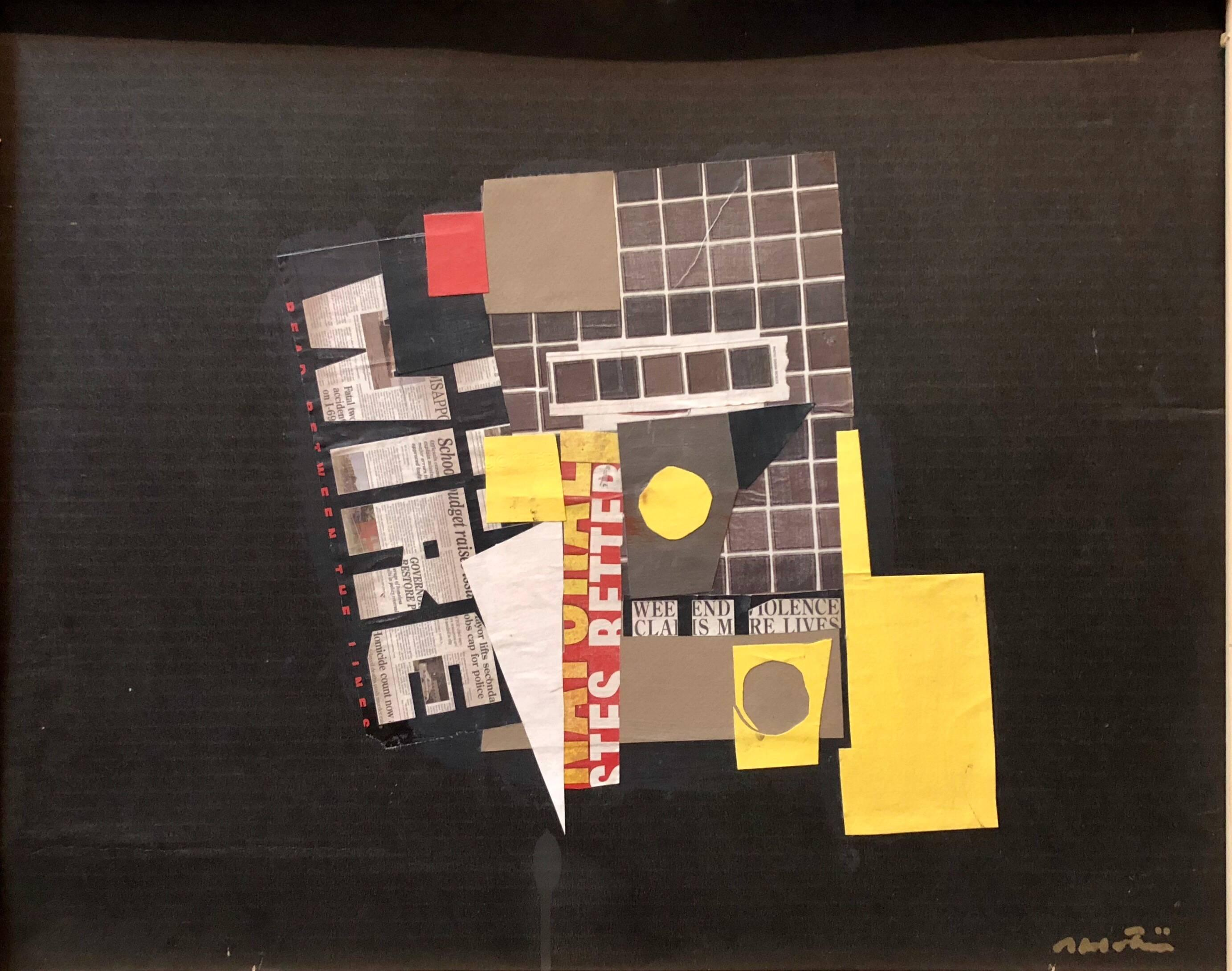 Abstract Mixed Media Torn Paper Collage Pop Expressionist Painting