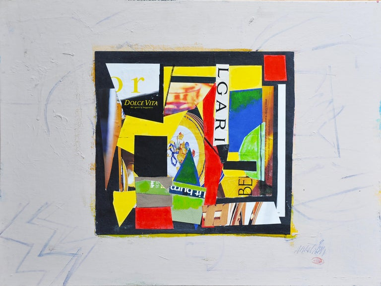"""Ronald Ahlstrom """"La Dolce Vita"""", mixed media collage on canvas board - Mixed Media Art by Ronald Ahlstrom"""