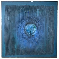 "Ronald Ahlstrom ""Untitled"" (Blue), mixed media on board"