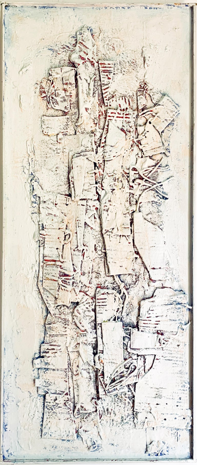 "Ronald Ahlstrom ""White Collage"", mixed media on plywood - Mixed Media Art by Ronald Ahlstrom"