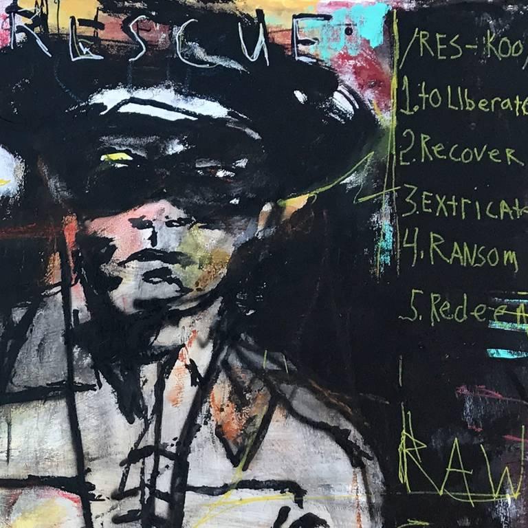 Broken Arrow / The Lone Ranger - Black Mixed Media Art by Ronald Allen (Wick) Wickersham