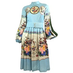 Ronald Amey Japanese Print Silk Dress with Pearl Buttons