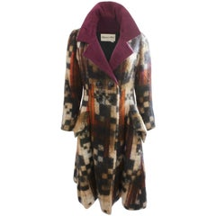 Ronald Amey Mohair Wool Coat with Silk Collar 1970s Sz M Abstract