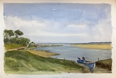 Beautiful English Town Boat Ready For Sea, signed British watercolour painting