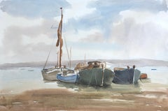 Boats in Harbour, signed original British watercolour painting
