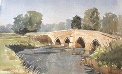 Bridge over the Avon, Lacock, signed original British watercolour painting