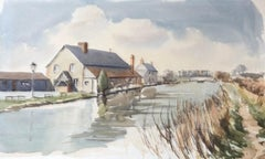 Canal scene with Houses, original British watercolour painting