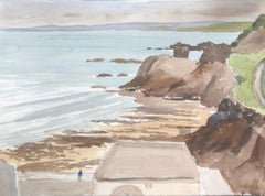 Coastal scene, original British watercolour painting