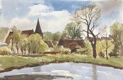 Densham Hill Pool, original British watercolour painting
