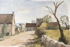 Dinton Church, original British watercolour painting