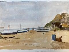 Dunwich Beach Suffolk signed original British watercolour painting