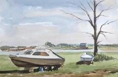 Edge of the Boatyard Yarmouth, signed original British watercolour painting