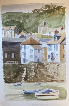 English Coastal Harbour Steps To The Sea, original British watercolour painting