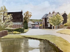 English Rural Country Village, signed original British watercolour painting