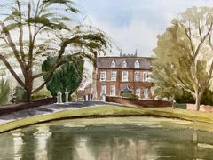 English Town Country House, signed original British watercolour painting