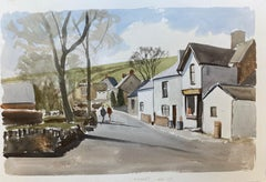 English Town, signed original British watercolour painting