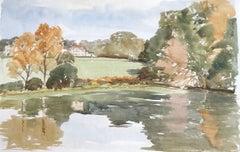 Lake in Dinton, original British watercolour painting