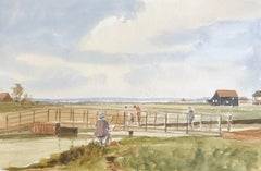 Painting the Fisherman at Walberswick, original British watercolour painting