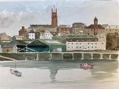Penzance Cornwall Harbour - signed original British watercolour painting