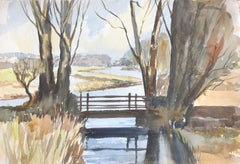 River bridge, signed original British watercolour painting
