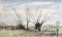 River Tree Scene, original British watercolour painting