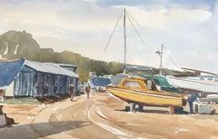 River Yar Boatyard, original British watercolour painting