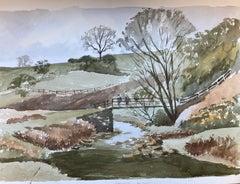 Rural River Countryside Landscape original British watercolour painting