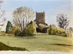 Rushall Church, English Town, signed original British watercolour painting