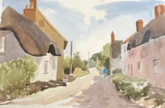 Thatched Cottages rural street, original British watercolour painting