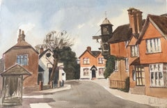 The Clock Tower, English Town, signed original British watercolour painting