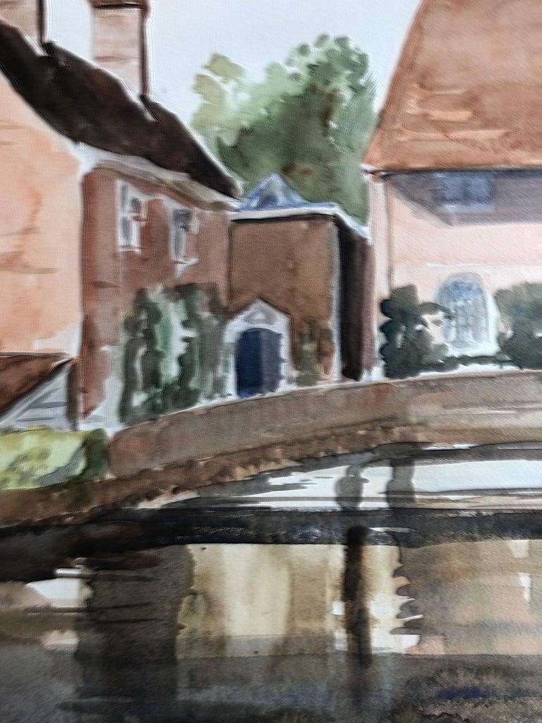 Village Bridge Scene, original British watercolour painting - Painting by Ronald Birch