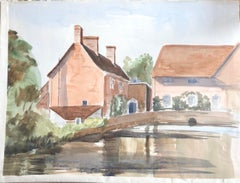 Village Bridge Scene, original British watercolour painting
