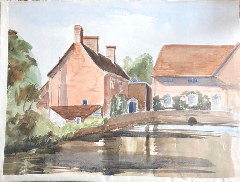 Ronald Birch Landscape Painting - Village Bridge Scene, original British watercolour painting
