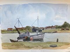 Walbeswick, Suffolk original British watercolour painting River Estuary