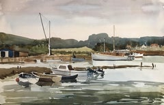 Yarmouth Harbour Isle of Wight, original British watercolour painting