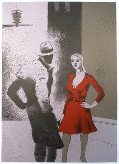 R.B. Kitaj, A Life (B): Film noir night city scene of woman in red dress