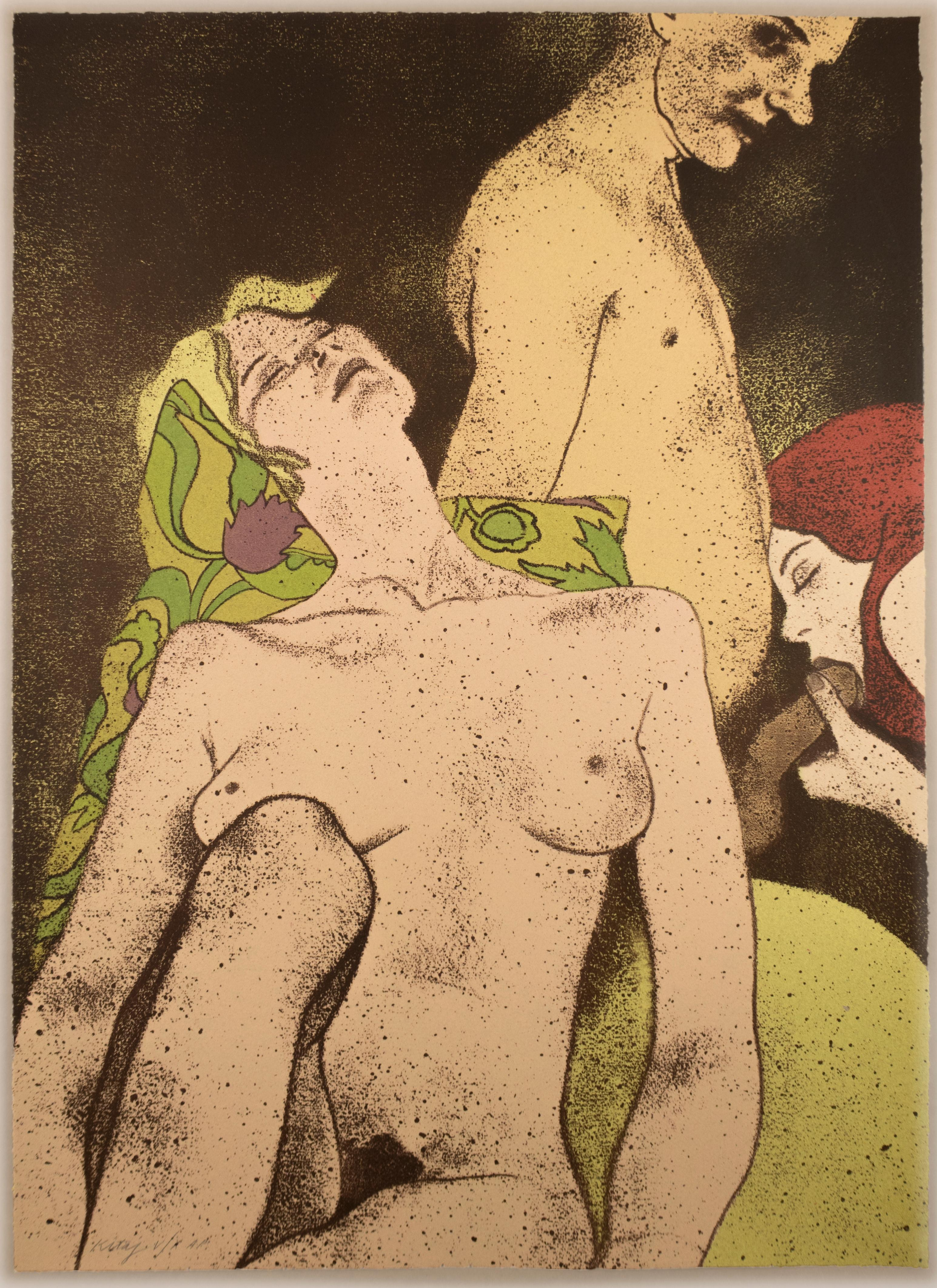 A Rash Act: erotic drawing of nude blonde, redhead, and man with art deco motifs