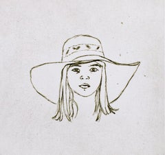 Dominie in Catalonia, Kitaj drawing black white portrait of young girl with hat