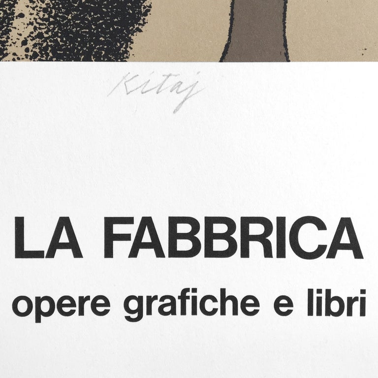 Vintage SIGNED Kitaj Poster, La Fabbrica, Milan (A Life 1975) woman in red dress - Modern Print by Ronald Brooks Kitaj