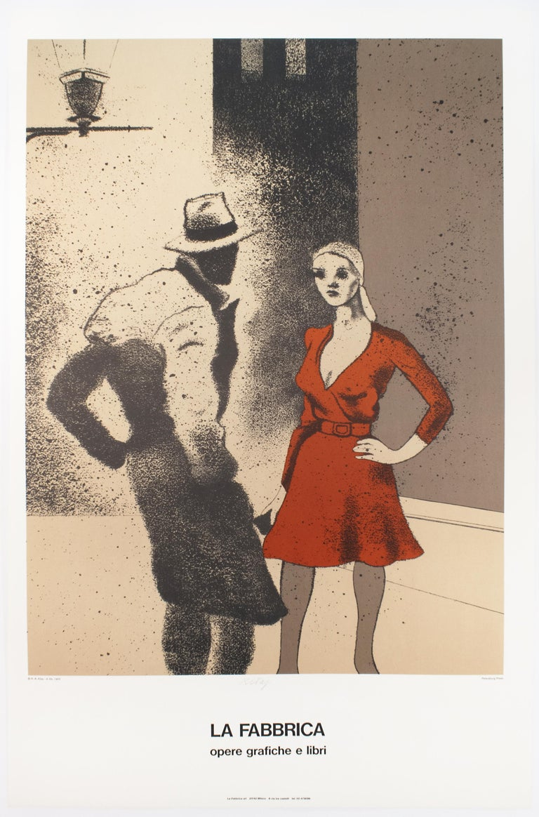 Vintage SIGNED Kitaj Poster, La Fabbrica, Milan (A Life 1975) woman in red dress - Print by Ronald Brooks Kitaj