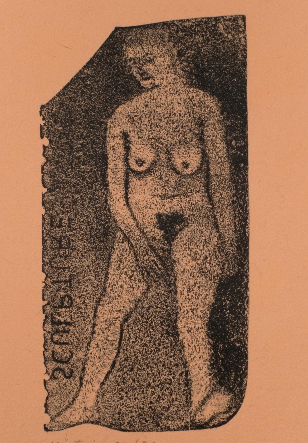 Nude Sculpture R.B. Kitaj drawing of nude woman on handmade orange paper print