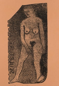 Nude Sculpture R.B. Kitaj drawing of nude woman on handmade orange paper print