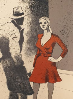 Vintage SIGNED Kitaj Poster, La Fabbrica, Milan (A Life 1975) woman in red dress