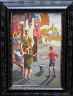 Funfair - British Art Deco 1930's oil painting family portrait children fair