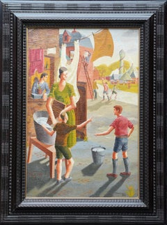 Funfair - British Art Deco 1930's oil painting family portrait children fair