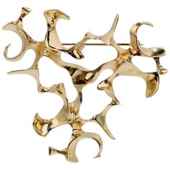 Ronald H. Pearson Modernist Forged Gold Brooch or Pin