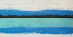 Blue Lined Landscape, Painting, Acrylic on Canvas