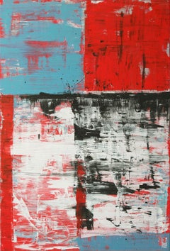 Brushed Stroke Vertical Red & Blue, Painting, Acrylic on Canvas